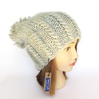 Slouchy beanie hat in light gray hand knit by Mary Johanna Gorman - chunky knit slouch grey hat with large pom pom - Irish designer knitwear