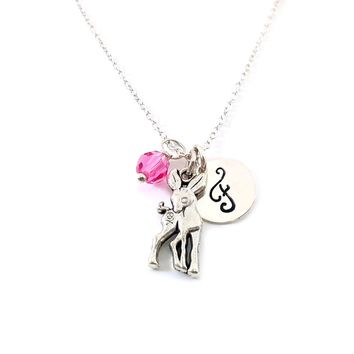 Deer - Animal Charm - Personalized Sterling Silver Necklace