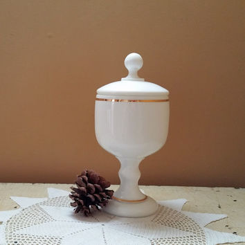 Apothecary Milk Glass Pedestal Jar Druggist Candy Dish
