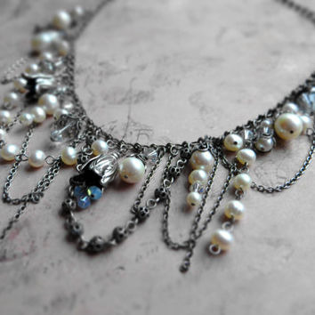 Bohemian asymmetric pearl crystal statement necklace, wedding, bridal / freshwater pearls, Swarovski, Czech glass