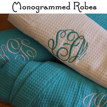 Personalized Bridesmaid Robe Set of 3 ,Monogrammed Robe, Waffle Robe, Personalized Bridesmaid Gifts
