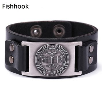 fishhook Gabriel Angel Pattern Pulseira masculina Amulet Pagan Leather Cuff Bracelets Adjustable man's Jewelry with Hide-clasp