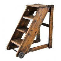 very unique c. 1912 american vintage industrial single-sided solid pine wood boiler factory stepladder with steel wheels - Furniture - Shop
