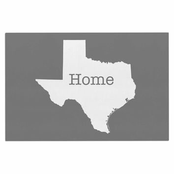 "Bruce Stanfield ""Texas Is Home"" White Gray Decorative Door Mat"