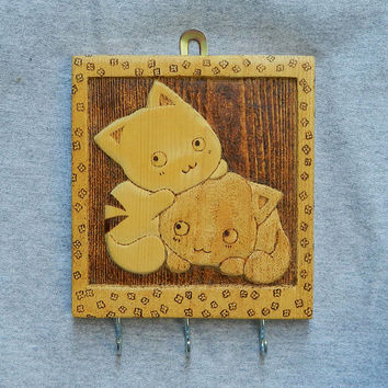 Cute kawaii kittens keys holder key hanger wood carving pyrography woodburned gifts for your home