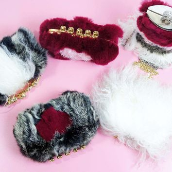 Knuckle Ring Mongolian Rabbit Fur Box Clutch