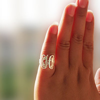 Engraved Ring 925 Sterling silver Monogram Ring Bridesmaids Ring  Personalized Ring Monogram Jewelry  Monogrammed Sterling Silver Rings