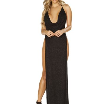 Roma 3665 Glittery Shimmer Cowl Neck Maxi Length Dress with High Slits