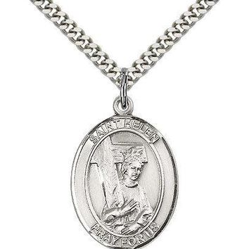 "Saint Helen Medal For Men - .925 Sterling Silver Necklace On 24"" Chain - 30 D... 617759408898"
