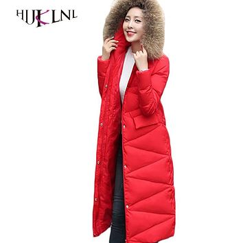 HIJKLNL Women Down jacket Long 2017 New Thicker Down Coats Winter Overcoats Female Hooded Down Parkas With Big Collar LZ534