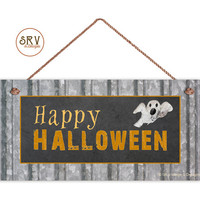 """Happy Halloween Sign, Rustic Decor, Corrugated Metal and Chalkboard Style, Weatherproof, 5"""" x 10"""" Sign, Holiday Sign, Spooky Sign"""