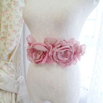 Mavue Puce Pink Chiffon White Lace Flower Rose Belt Obi Sash - Wedding Romantic Rosettes Pearl French Dress Shabby Chic