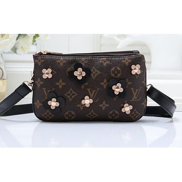 LV Hot Selling Women's Printed One-Shoulder Wallet Brown flower