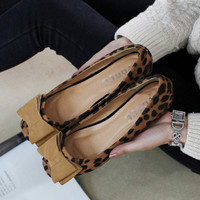 Large Size 34-43 genuine leather shoes woman female shoes ladies shoes flat heel sweet bow leopard Low Inner Flat Shoes sandals