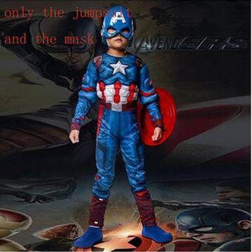 Child Captain America Costume Avengers Superhero Muscle Kids Cosplay