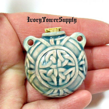 Ceramic Celtic Knot Bottle, Irish Knot Pendant, Raku Fired, Clay, Vessel, Focal Bead