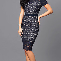 Navy Blue Lace Short-Sleeve Party Dress