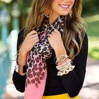 Leopard and Plain Tips Scarf Coral CLEARANCE