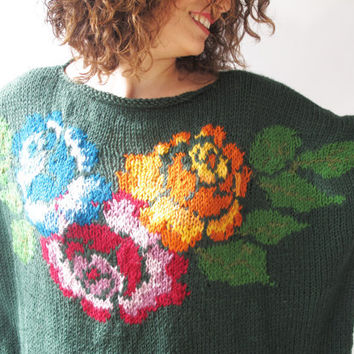 Hand Knitted Sweater with Roses Pattern Plus Size Over Size by Afra