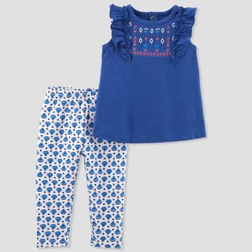 Toddler Girls' 2pc Leggings/Top Set - Just One You™ Made by Carter's® Blue