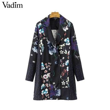 Vintage Floral Pattern Over Sized Wrap Dress Notched Collar Long Sleeve Ladies Loose Mini Dresses