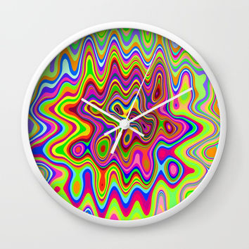 Psychedelic Glowing Colors Pattern Wall Clock by bluedarkatlem