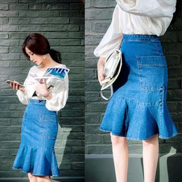 2017 Women High waist Package hip Denim Skirt Mermaid Him Ruffles Ladies Elegant Slim pocket Knee-Length Jeans Skirts