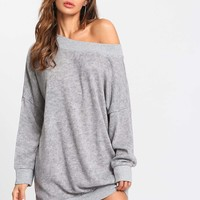 Off Shoulder Marled Knit Sweater Dress