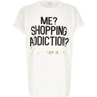 River Island Womens White shopping addicition oversized t-shirt