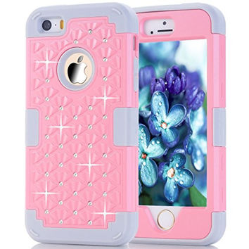 iPhone 5s Case, HOcase Rhinestone-Studded Bling Series, Durable Silicone Bumper and Hard PC Shock & Scratch Resistant Case for Apple 4 inch iPhone 5s - Light Pink+Grey