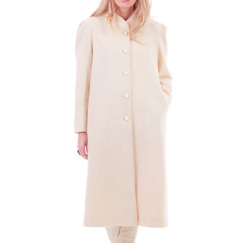 Ivory Wool Coat Minimalist Chic Long Winter Outerwear 80s 90s Vintage Clothing Made in the USA Womens Size Medium