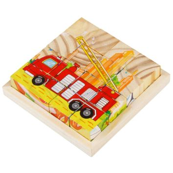 Educational Toy 3D Wooden Puzzle for Kids Cube Puzzle Vehicle(2 Years and up)