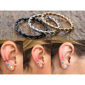 Silver, Gold or Black Twisted Cartilage Hoop Earring, Helix, Tragus, Rook, Daith