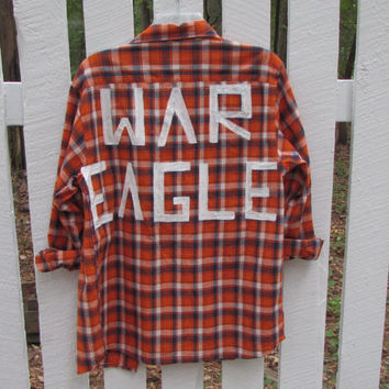 "Size 18 Hand Painted ""War Eagle"" Vintage Flannel"