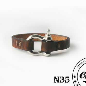 Handmade Urban Leather Wristband with Zinc Alloy Buckle, Men & Womens Modern 9th Anniversary Gift, Dark Brown Rustic Leather Bracelet Cuff