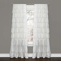 Lush Decor C10853P13-000 Ruffle White 84 x 50-Inch Window Curtain Single Panel