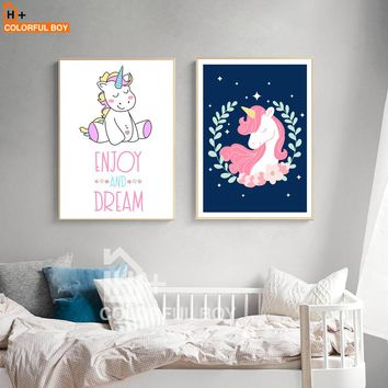COLORFULBOY Unicorn Baby Wall Art Canvas Painting Nordic Posters And Prints Cartoon Wall Pictures For Living Room Kids Room