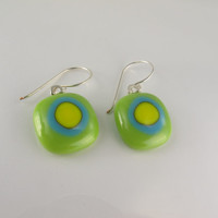 Green Glass Earrings, Green Fused Glass Earrings, Dangle Earrings, Green Blue Yellow Earrings