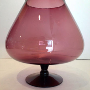 Groovy Vintage Hand Blown Stemmed Amethyst Glass Retro Bowl Brandy Snifter Shaped Dish