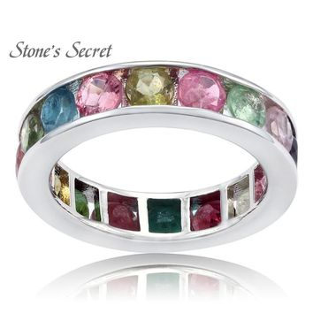 Multi Tourmaline 3.50ctw Round, Rhodium Over Sterling Silver Ring Engagement rings circle classic luxury woman