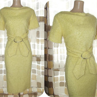 "Vintage 60s Lemon Yellow Curly Boucle Knit Wiggle Dress Madmen Mohair/Alpaca 38""Bst/ 26"" Wst"