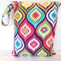 2 Large wet bags size 15X19, you pick from any print in shop, large cloth diaper wet bags set of 2