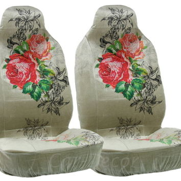 Rhinestone Red Rose Car Seat Covers 2 Pc
