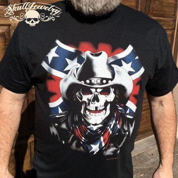 Rebel Confederate Skull T-Shirt (TS129)