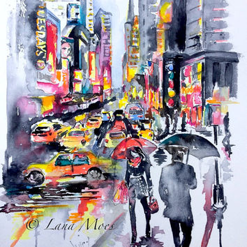 New York City Inspired Original Abstract Watercolor Painting - LanasArt - Contemporary Home Decor