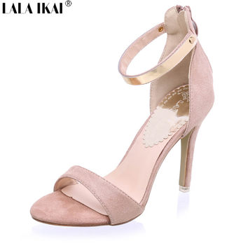 2017 Concise Nude Suede High Heels - Ankle Strap Summer Dress Shoes dea800ded67c