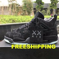 "【FREE SHIPPING】KAWS x AIR JORDAN 4 (BLACK ""KAWS"") BASKETBALL SNEAKER"