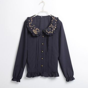 Women Sweet Lolita Blouse Gothic Shirt Peter Pan Collar Long Sleeve Stars Embroidery Sweet Chemisier Tops