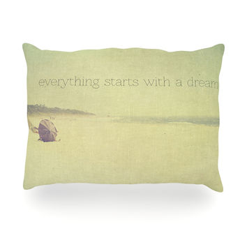 "Ingrid Beddoes ""Everything Starts With A Dream"" Beach Quote Oblong Pillow"