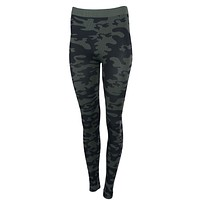 Women Army Military Camouflage Printed Banded High Waist Seamless Leggings